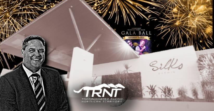 Darwin Turf Club chair Brett Dixon in a graphic with Silks and the Gala Ball