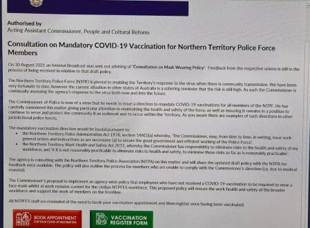 NT Police internal email about mandatory vaccines